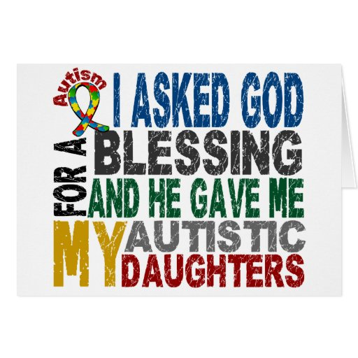 Blessing 5 DAUGHTERS Autism T-Shirts & Apparel Greeting Card