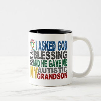 Blessing 5 GRANDSON Autism T-Shirts & Apparel Two-Tone Coffee Mug