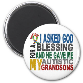 Blessing 5 GRANDSONS Autism T-Shirts & Apparel 2 Inch Round Magnet