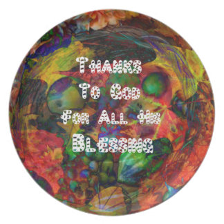 Blessing And Happy Thanksgiving Melamine Plate
