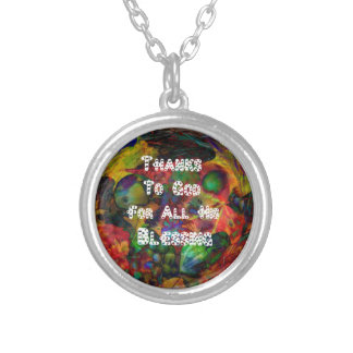 Blessing and happy Thanksgiving Silver Plated Necklace