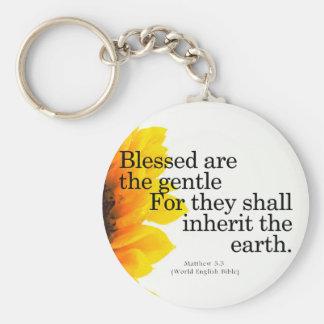 Blessing for Gentleness Matthew 5:5 Basic Round Button Keychain
