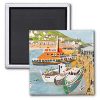 Blessing of the Lifeboat at Mousehole 2 Inch Square Magnet