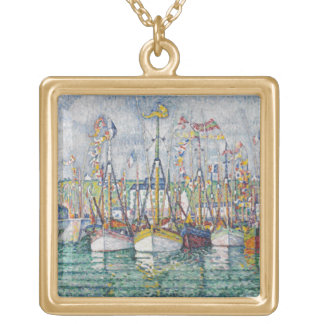Blessing of the Tuna Fleet at Groix, 1923 Square Pendant Necklace
