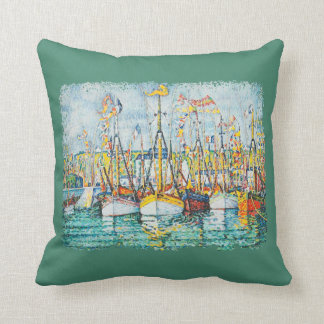 Blessing of The Tuna Fleet at Groix by Paul Signac Throw Pillow