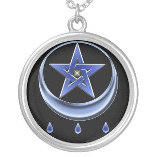 Blessing Symbol Pentagram Round Pendant Necklace