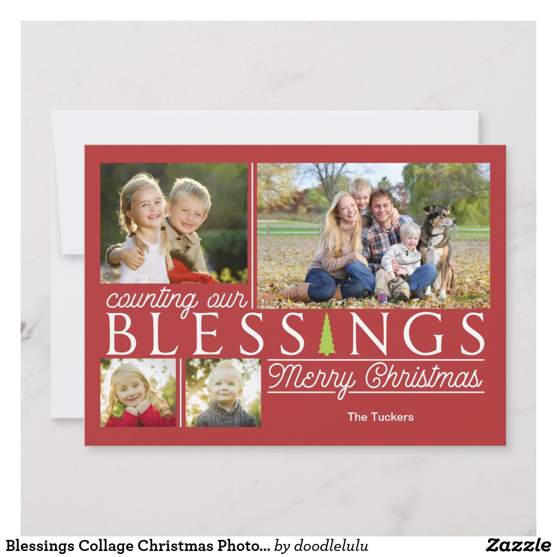 Blessings Collage Christmas Photo Card