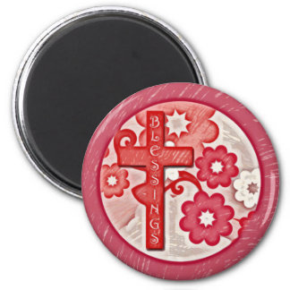 Blessings Cross and Flowers Magnet
