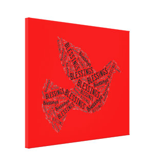 Blessings Dove, Inspirational Canvas Bright Red