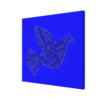 Blessings Dove, Inspirational Canvas Neon DarkBlue