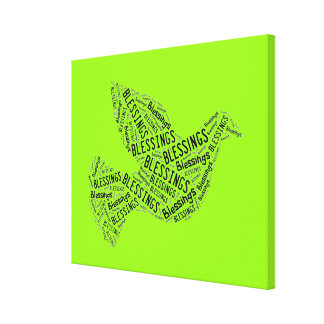 Blessings Dove, Inspirational Canvas Neon Green