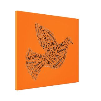 Blessings Dove, Inspirational Canvas Neon Orange