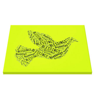 Blessings Dove, Inspirational Canvas Neon Yellow