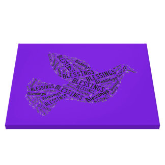Blessings Dove, Inspirational Canvas Purple