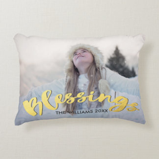 Blessings Faux Gold Script Holiday Christmas Photo Decorative Pillow