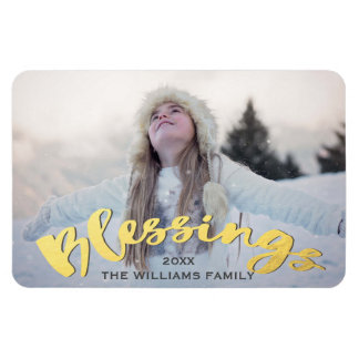 Blessings Faux Gold Script Holiday Christmas Photo Magnet