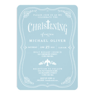 "Blessings for Baby Boy Christening Invitation 5"" X 7"" Invitation Card"