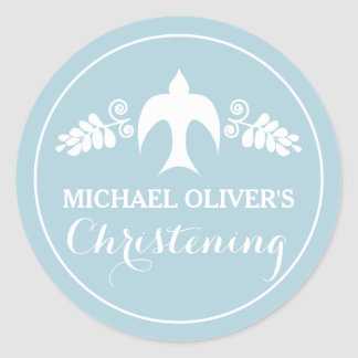 Blessings for Baby Boy Christening Invitation Classic Round Sticker
