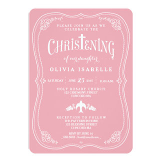 "Blessings for Baby Girl Christening Invitation 5"" X 7"" Invitation Card"