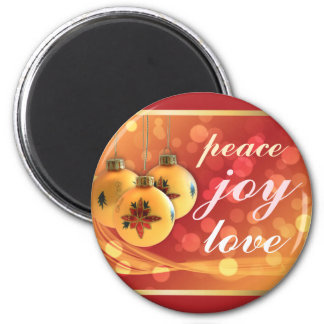 Blessings of Peace Joy Love Gold Red Festive Magnet