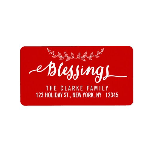 Blessings Red and White | Holiday Address Label