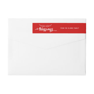 Blessings Red and White | Holiday Wraparound Label Wraparound Return Address Label