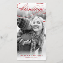 Blessings Script Religious Christmas Photo Card