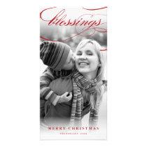 Blessings Script Religious Christmas Photo Card