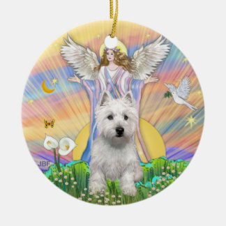 Blessings - Westie (P) Double-Sided Ceramic Round Christmas Ornament