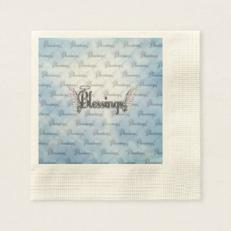 Blessings with clouds, angel wings and halo paper napkin