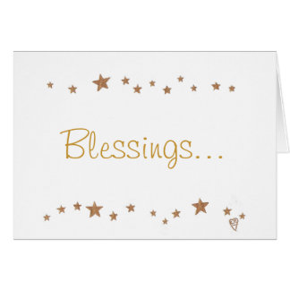 Blessings with gold stars, greeting cards