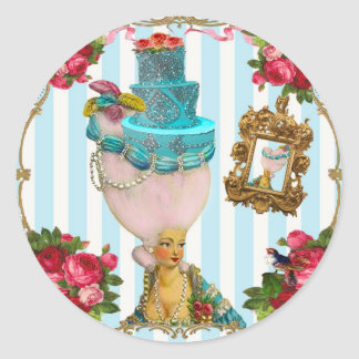 Bleu Cakes and Pink RoseTea for Marie Antoinette Classic Round Sticker