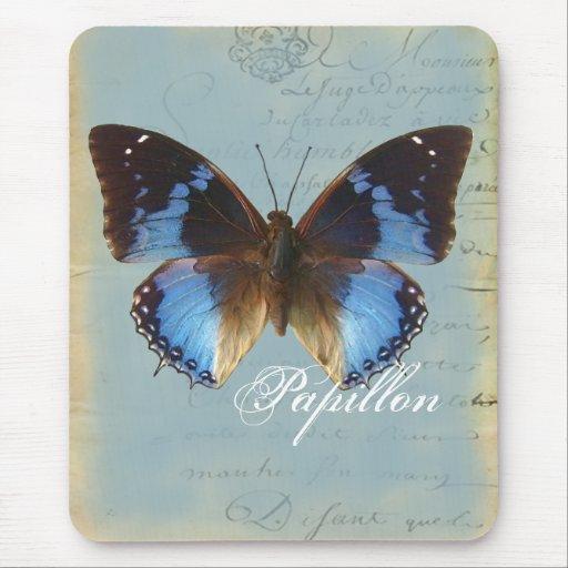Bleu de Papillon Alfombrilla De Raton