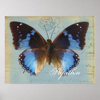Bleu de Papillon Poster