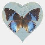 Bleu de Papillon Pegatina En Forma De Corazón