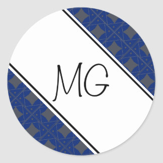 bleu et gris pattern classic round sticker