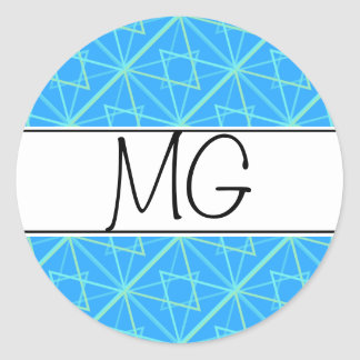 bleu pattern classic round sticker