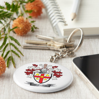 Blevins Family Crest Coat of Arms Keychain