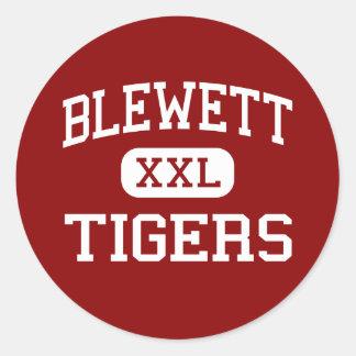Blewett - tigres - centro - Saint Louis Missouri Pegatina Redonda