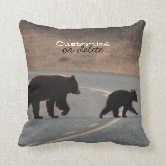BLHI Black Bears on Highway Throw Pillow