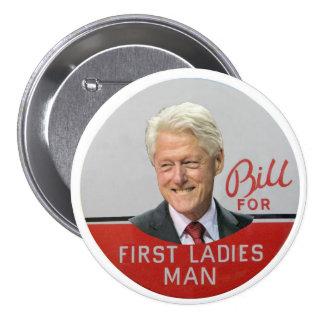 Blii Clinton para el primer hombre de las señoras Pin Redondo De 3 Pulgadas