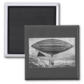 Blimp Airship Dirigible Vintage Flying Machine 2 Inch Square Magnet