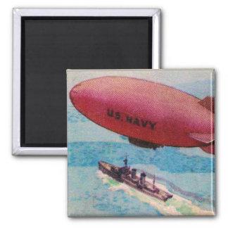 Blimp Dirigible Airship Card Retro Vintage Kitsch 2 Inch Square Magnet