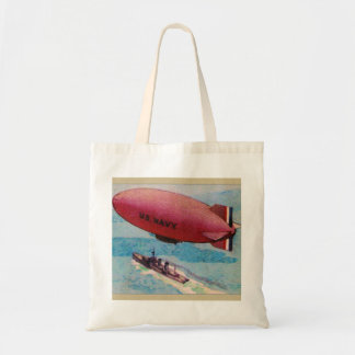Blimp Dirigible Airship Card Retro Vintage Kitsch Tote Bag