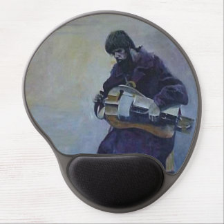 Blind beggar man playing wind-up instrument. gel mouse pad