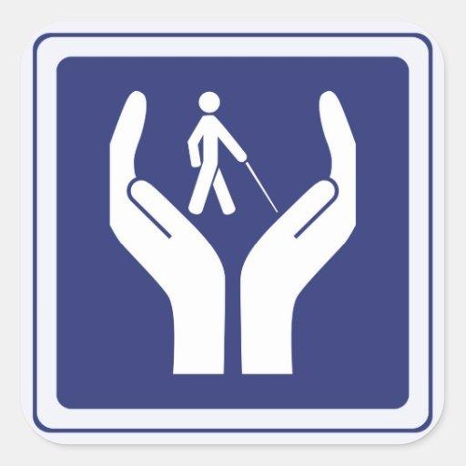 blind care sign square sticker