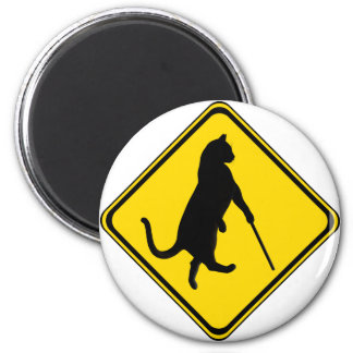 Blind Cats Crossing ! 2 Inch Round Magnet