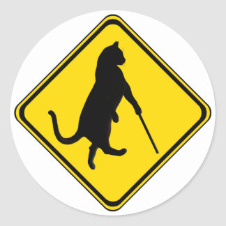 Blind Cats Crossing ! Classic Round Sticker