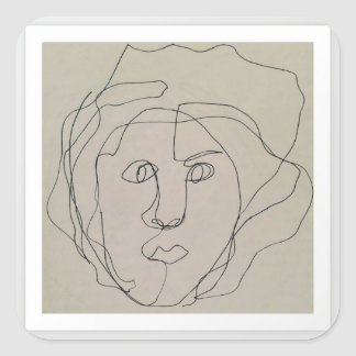 Blind contour drawing design square sticker