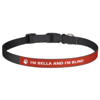 Blind Dog Awareness With Custom Name Pet Collar